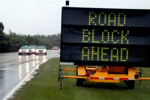 Road-Block-Ahead-Traffic-Safe-Community-Carolina